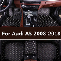 leather car floor mats for Audi A5 2008 2009 2014 2015 2016 2017 2018 Custom auto foot Pads automobile carpet covers