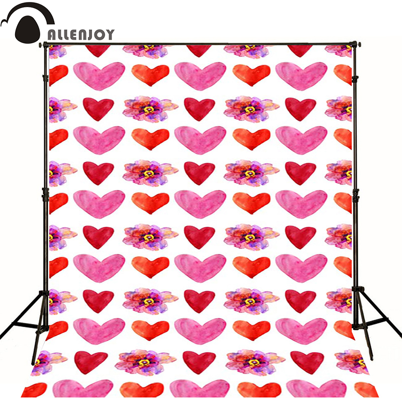 Allenjoy Photographic background Pink heart flower painting newborn vinyl backdrops  photography lovely princess baby shower