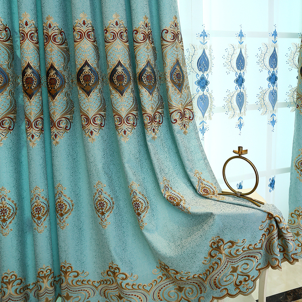 Modern High Shading Embroidered Window Valance Curtains Jacquard For Living Room Curtains Tulle For Bedroom Kitchen Drapes