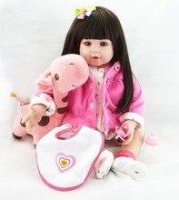 56cm Pretty face princess Baby Girl Doll Toy with Giraffe gift Reborn Dolls sutffed 3/4 Silicone Vinyl Alive bebe Boneca juguete