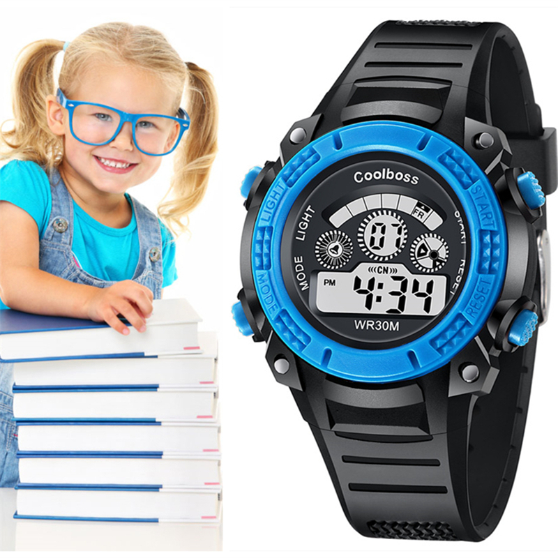 Children's Watches Multicolor Water Resistant Clock Digital LED Display Time Alarm Features Baby Boy Or Girl 3-13 Age WristWatch