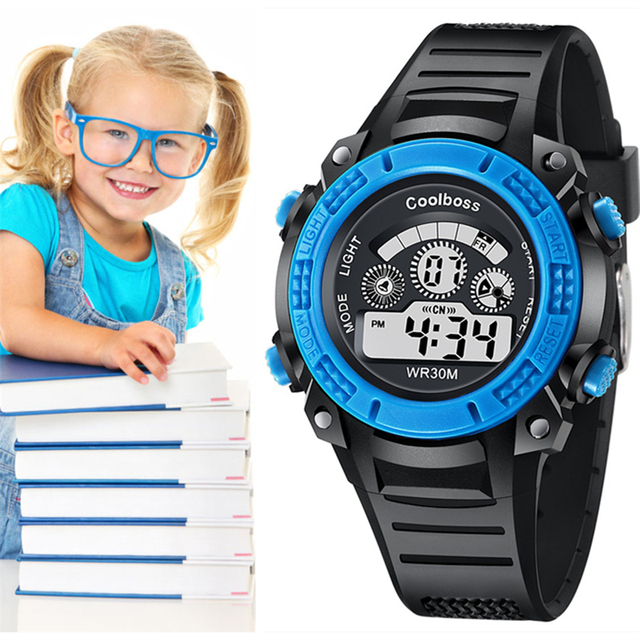 Children's Watches Multicolor Water Resistant Clock Digital LED Display Time Ala
