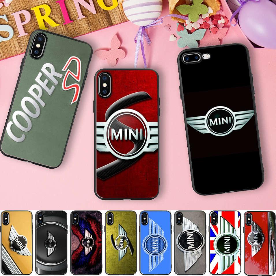Minason Черный Мягкая силиконовая резина Телефон чехол для iPhone 10X5 S 5S SE 6 6 S 7 8 плюс 7 Plus 8 плюс BMW Mini Cooper логотип Чехол ...