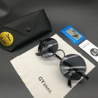 Gy Snail Steampunk Men Women Sunglasses Polarized Mirrored Sunglasses Round Circle Sun Glasses Retro Vintage Gafas