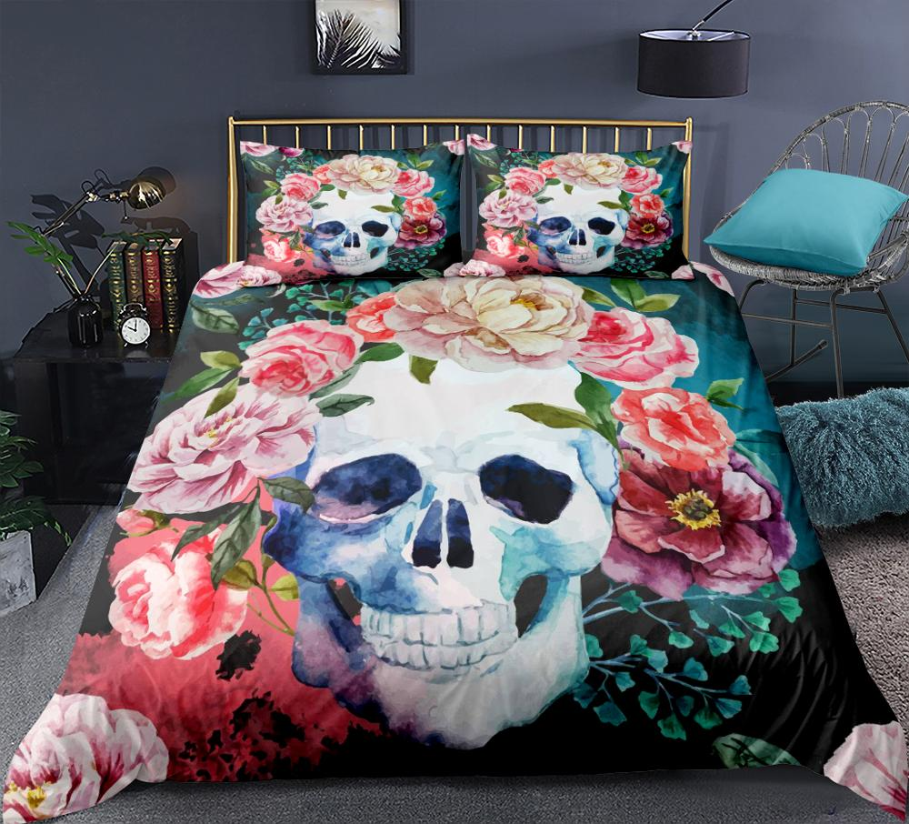 Skull Flower Bedding  Set Gothic Black And White Duvet Cover Floral Print Home Textiles 3Pcs Queen Bedclothes Dropship