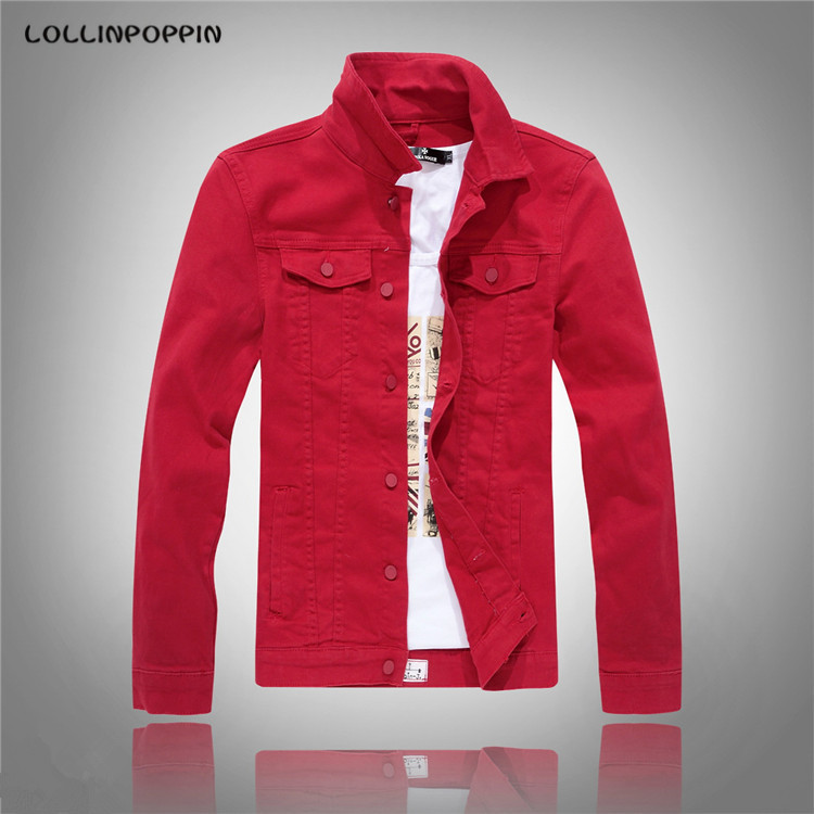men's jean jacket Picture - More Detailed Picture about Men Red ...