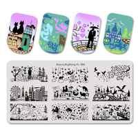 Beautybigbang Stamping Plates 6*12cm Dinosaur Park Lover Star City House Pattern Nail Art Stamping Plate Printing Image XL-082
