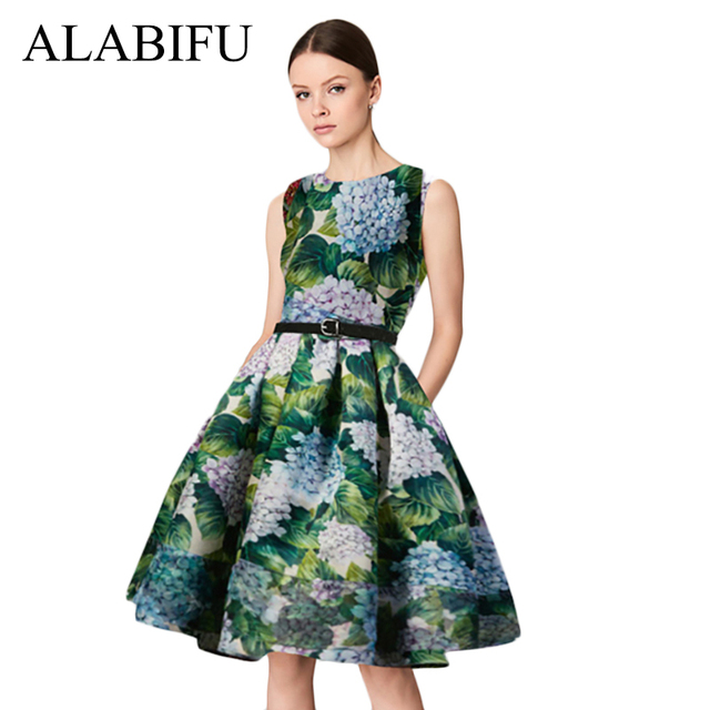 ALABIFU Vintage Spring Summer Dress Women 2018 Casual Sleeveless Floral  Party Dress Female Sexy Slim Elegant 6b6cc750a0a0