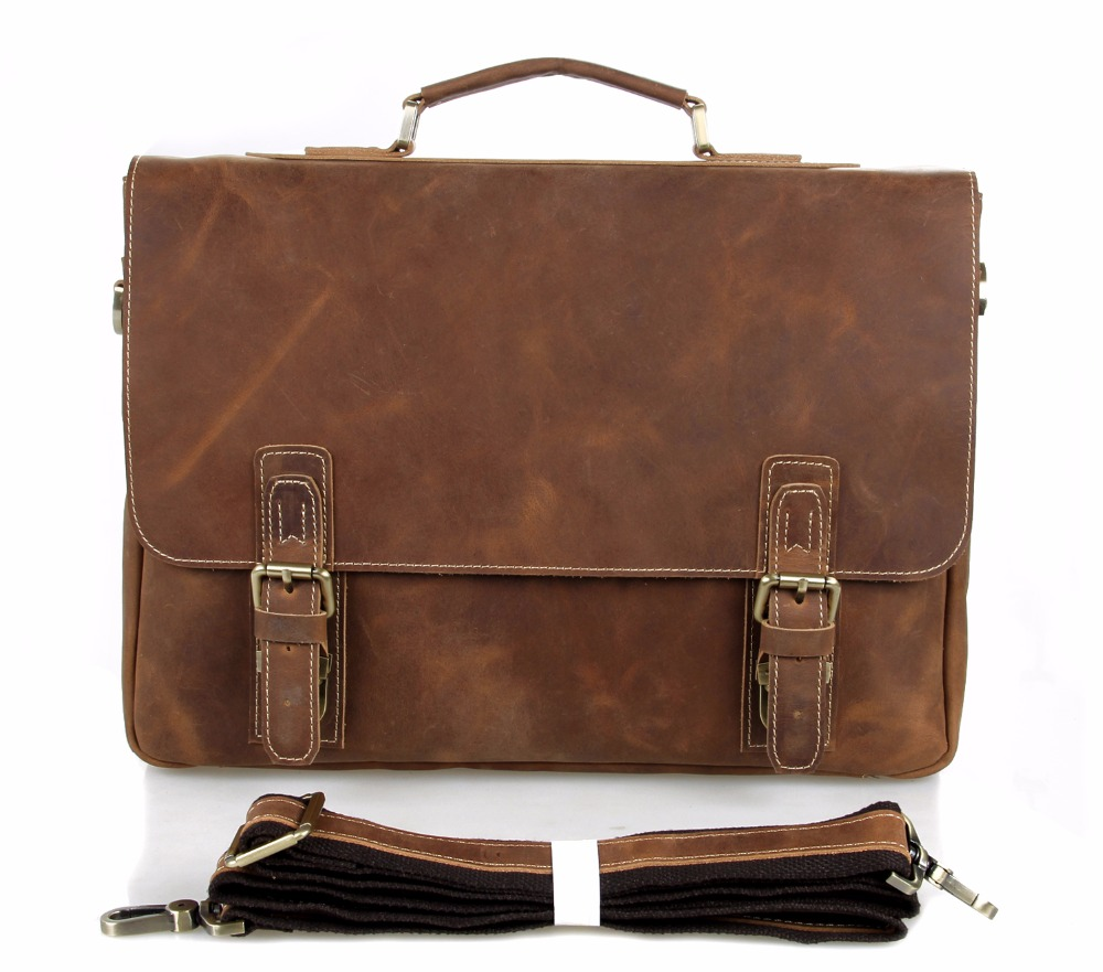 Augus High Quality Crazy Horse Leather Messenger Bag Vintage And Classic Laptop Bag Fashional Crossbody Bag For Adult 7229B augus 100% genuine leather laptop bag fashional and classic crossbody bags leather for men large capacity leather bag 7185a