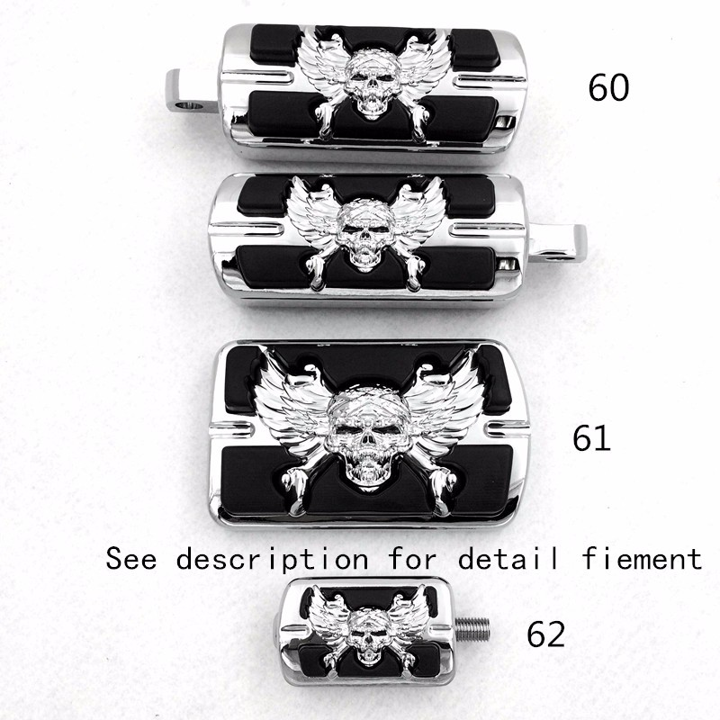 Aftermarket free shipping Chrome Wing Skull Zombie Emblem With Black Eye Series Foot Pegs Fit For Harley See description aftermarket free shipping skull zombie horn cover for 1992 2015 harley davidson with side mount cowbell and all v rod s