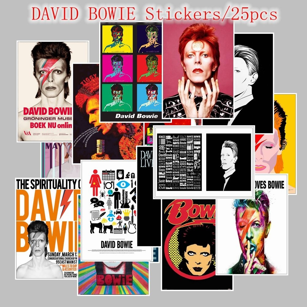 25PCS DAVID BOWIE Stickers For Kids Laptop Car Decal Fridge Skateboard Rock Music Sticker Toy Stickers