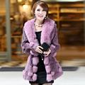 2016 Lady Genuine Real Rabbit Fur Coat Jacket with Fox Fur Collar Winter Women Fur Outerwear Coats Plus Size 3XL 4XL VK1025