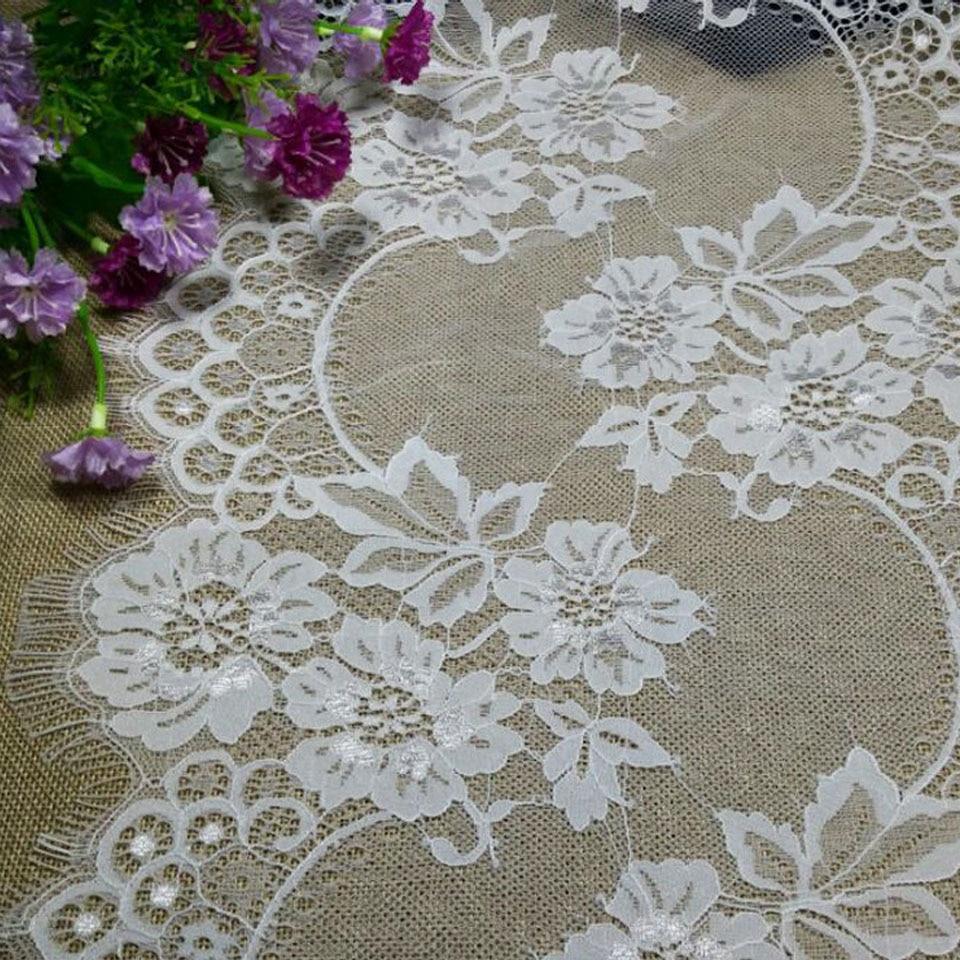 32cm széles virág Kötött csipke szegélyezés szempilla Fehér - Művészet, kézművesség és varrás