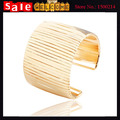 Statement Punk Arc Curve  Gold Plated Wide Hollow Metal Opened Cuff Bracelets & Bangles for Women Weddings Club Party Jewelry