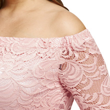Plus Size 4XL Sexy Off The Shoulder Lace Crochet Dress Women Pink Black Bodycon Elegant Party Mini Dress Female Vestido