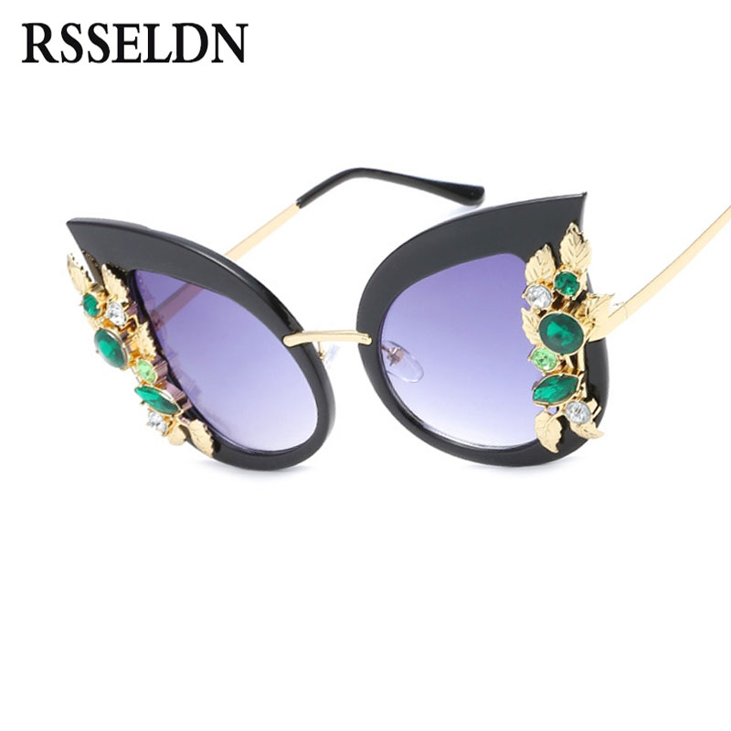 Rsseldn vendimia gato rhinestone ojo Gafas de sol mujeres de lujo marca de moda Gafas verano femenino rosa azul estilo gafas
