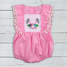 54cde16946ab Easter Baby Boutique Clothes Short Sleeve Wholesale Baby Chicken Applique  Clothing Baby Rompers(China)