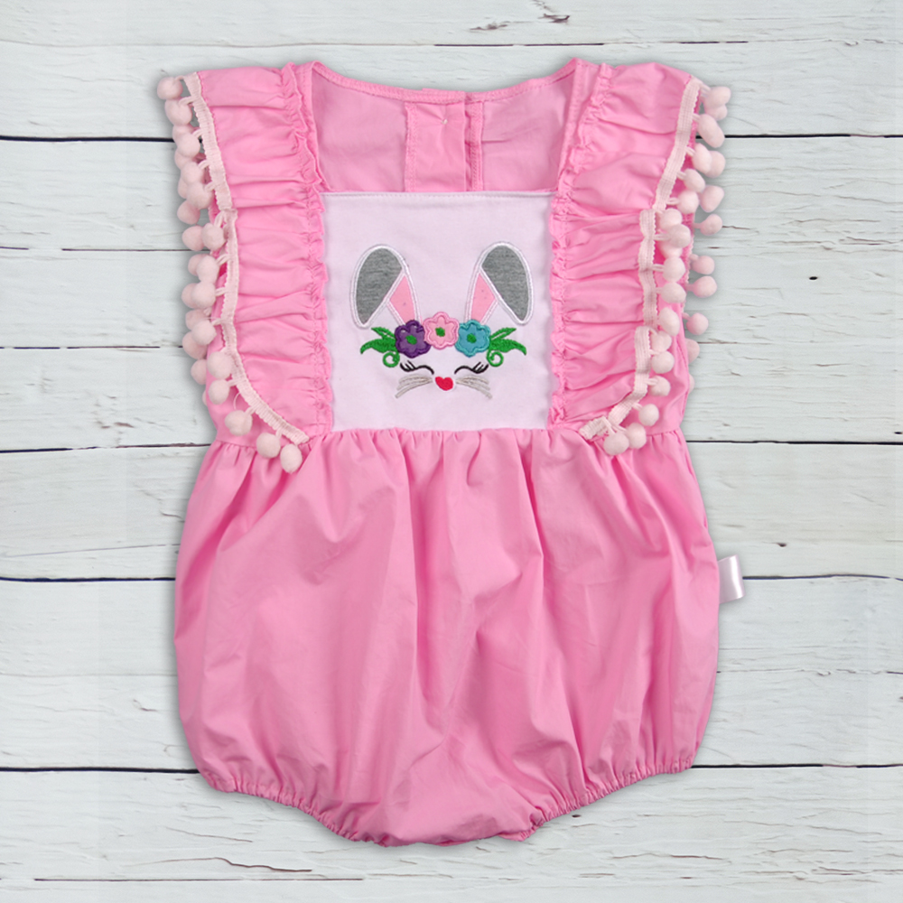 Easter Baby Boutique Clothes Short Sleeve Wholesale Baby Chicken Applique Clothing Baby   Rompers