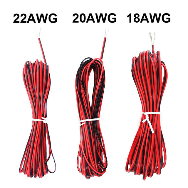 Free shipping+5M 10M 20M 2 Pin 18 20 22 AWG Electric Red Black ...