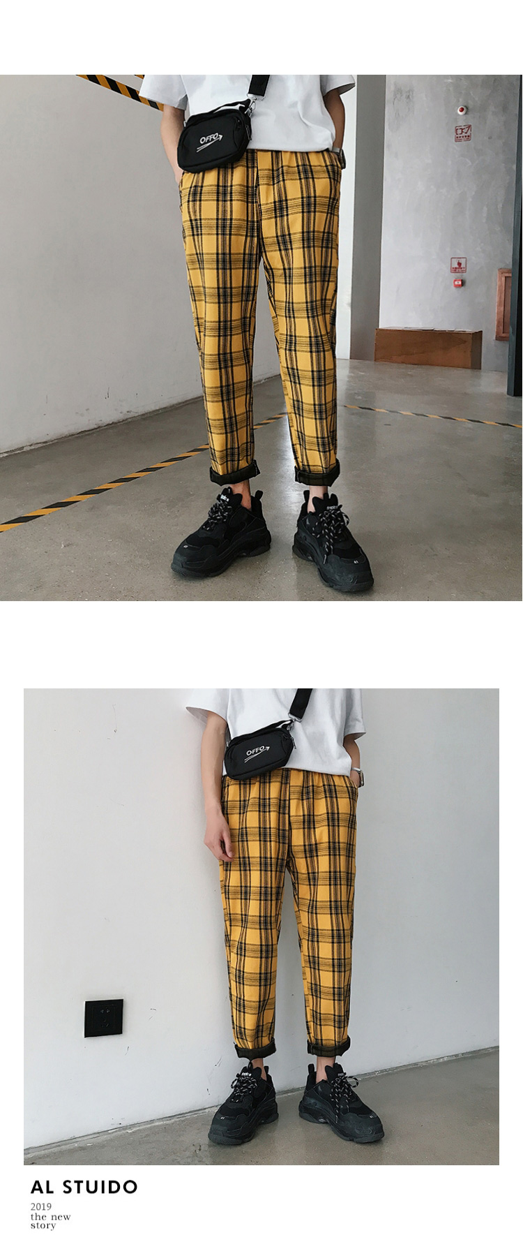 LAPPSTER Streetwear Yellow Plaid Pants Men Joggers 19 Man Casual Straight Harem Pants Men Korean Hip Hop Track Pants Plus Size 3