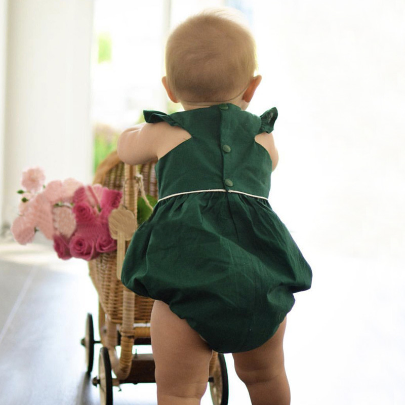 01eeed84f03a 2017 Lovely Baby girl bodysuit Dark green summer body bebes fille vetement  clothing clothes infant toddler girls bodysuits nina-in Bodysuits from  Mother ...