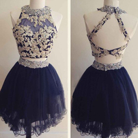 Lace applique navy blue two pieces mini a line tulle open back homecoming dress prom dress.jpg 200x200