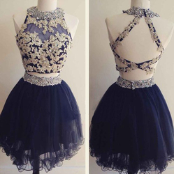 Lace applique navy blue two pieces mini a line tulle open back homecoming dress prom dress.jpg 250x250