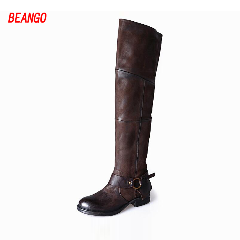 BEANGO Handsome Women Knight Boots Low Heel Casual Do Old Leather Vintage Over Knee Boots Buckle Belt Long Boots Woman
