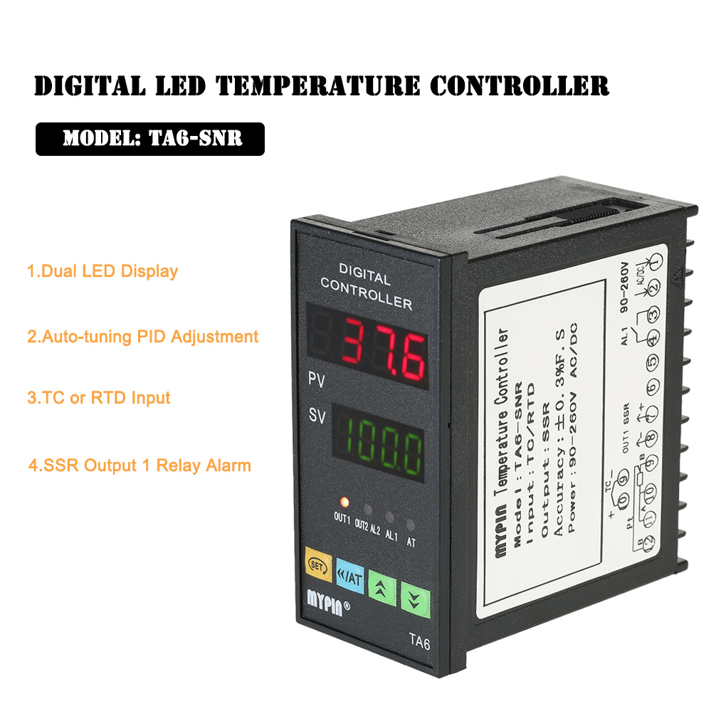 MYPIN Digital TA6-SNR PID Temperature Controller with Relay DIN 1/8 SSR-25DA K type Thermocouple Dual Display for F/C 7 Output xmt 800 pv sv digits display alarm ssr controller temperature control meter m6 k type 2m thermocouple ssr 25da