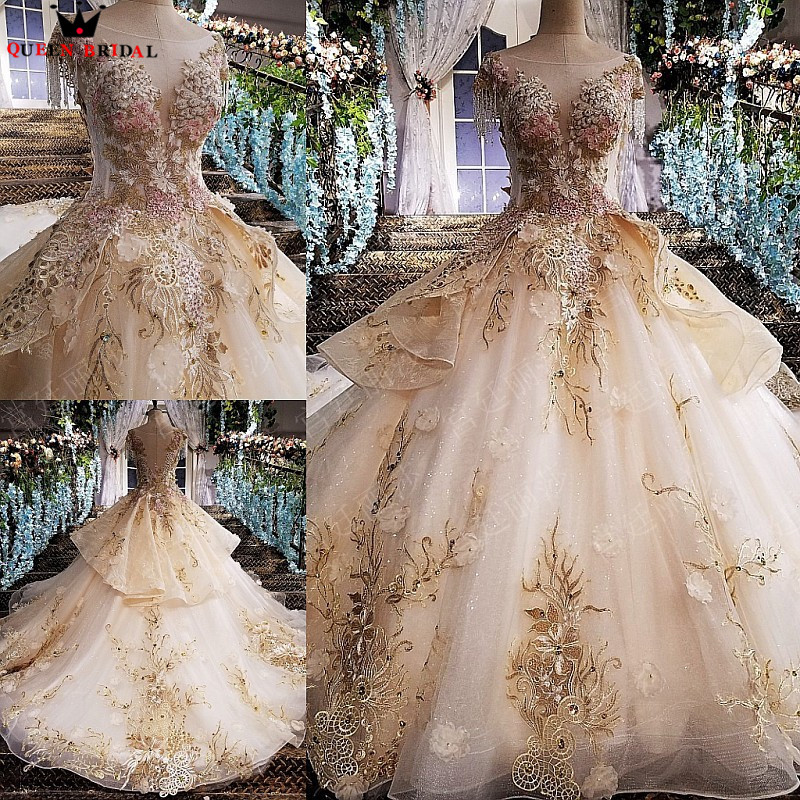 Fluffy Ball Gown Lace Beaded Flowers Luxury Evening Dresses Prom Dress Gowns 2020 New Fashion Vestido De Festa QUEEN BRIDAL KC18