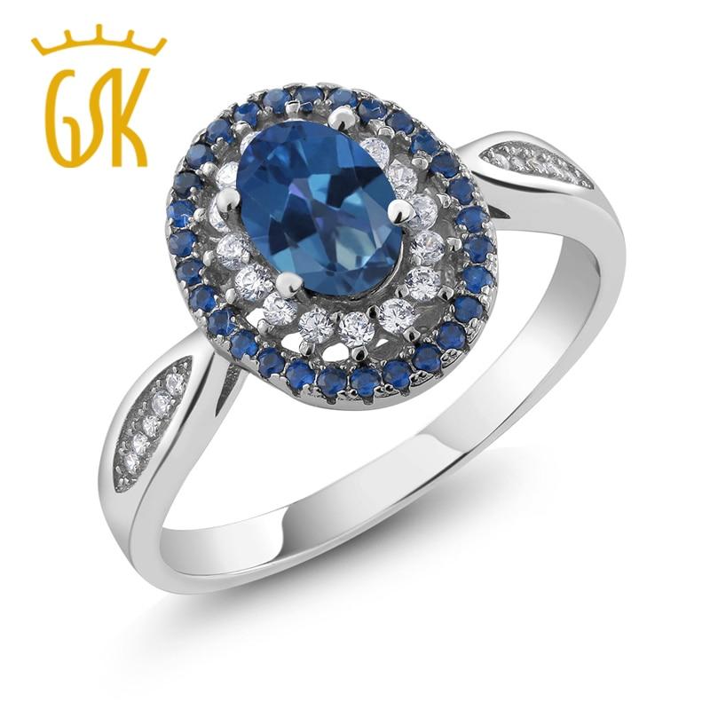 GemStoneKing 1 55 Ct Oval Natural Royal Blue Mystic Topaz 925 Sterling Silver Vintage Rings For