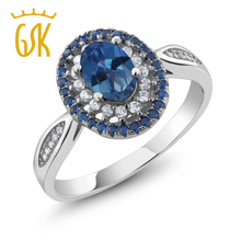 GemStoneKing 1.55 Ct Oval Natural Royal Blue Mystic Topaz 925 Sterling Silver Vintage Rings For Women