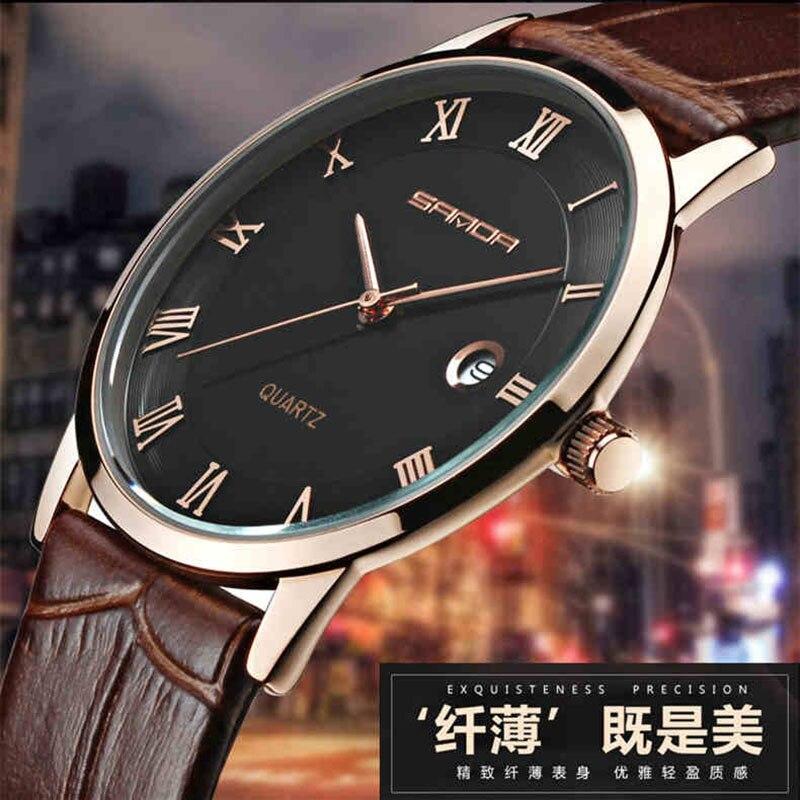 62ab51a8e95 SANDA 7mm Super Fino Mens Relógios Top Marca de Luxo Relógio Dos Homens de  Ouro De