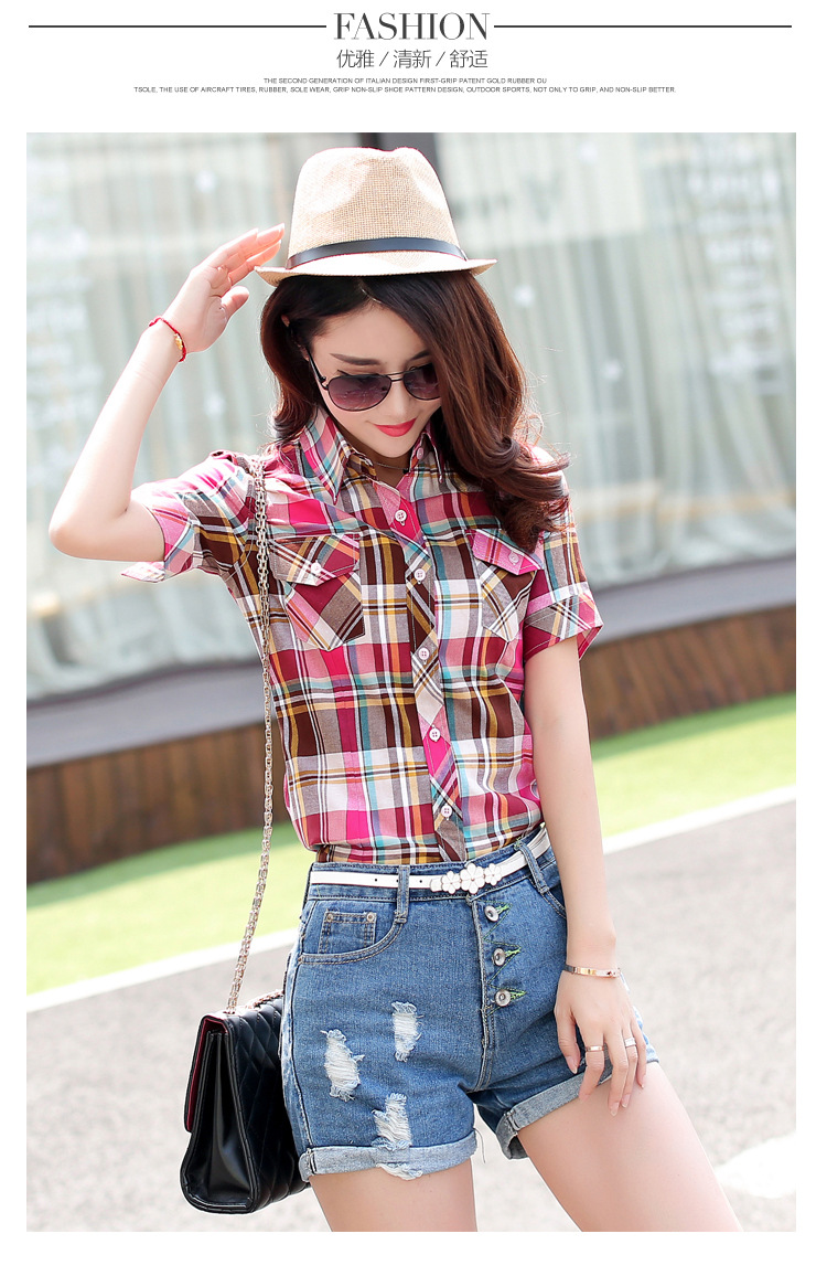 HTB1GpHNHFXXXXXDXpXXq6xXFXXXp - New 2017 Summer Style Plaid Print Short Sleeve Shirts Women