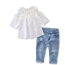 Sardiff 2017 Kids White Hollow Lace Shirt+Jeans Pants 2 Pieces Clothing Set Autumn Spring Clothes Fashion Casual Clothing Sets