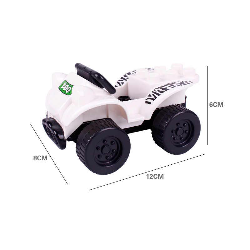 Legoing Duplo samochody motocykle rysunek duży rozmiar MOC jedna sprzedaż DIY klocki budowlane zabawka dla dzieci kompatybilny dla Duplo bloki