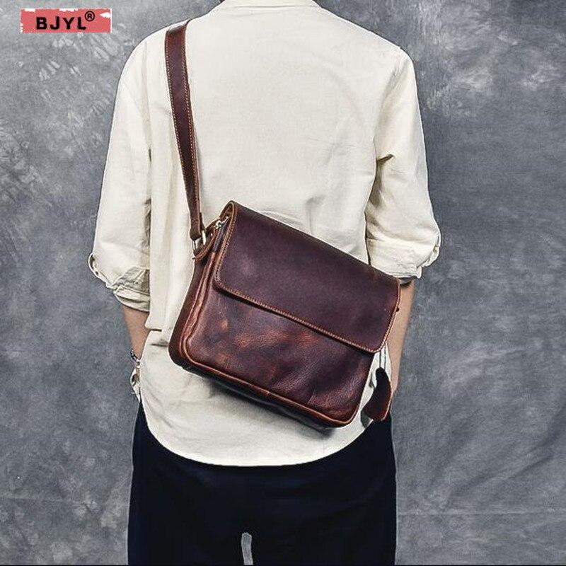 BJYL New Genuine leather Men messenger Bags multi-layer retro crazy horse leather cowhide men's crossbody shoulder bag стоимость