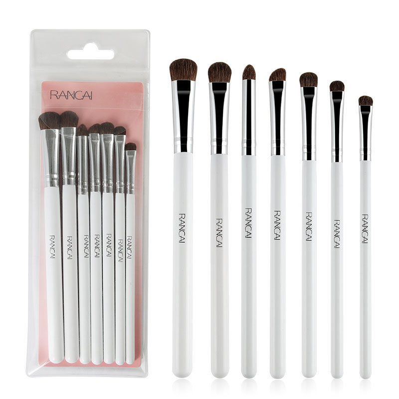 RANCAI 7pcs Eyes Makeup Brushes set Eyeshadow Brush Natural Animal Horse Pony Hair Cosmetics MakeUp Eye Shadow Brush Beauty Set ...