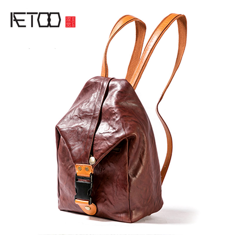 AETOO Original new first layer leather backpack large capacity bag retro literary female wild leather backpack tide aetoo original new backpack female cowhide leather casual retro art wild female backpack female bag personality