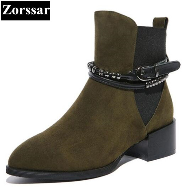 {Zorssar}2018 NEW Arrival Fashion Suede Women Boots Mid heel ankle pointed Toe Martin boots large size womens shoes winter boots new arrival superstar genuine leather chelsea boots women round toe solid thick heel runway model nude zipper mid calf boots l63