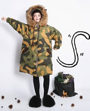 XYJ235 Original Design unique hooded raccoon fur collar oversized long coat camouflage white duck down jacket women winter 2016