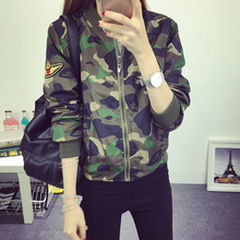 Women Military Style Camouflage Jacket Embroidery Badges Embellished 2016 New Stand Collar Ladies Army Jackets Free Shipping