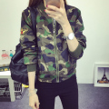 Women Military Style Camouflage Jacket Embroidery Badges Embellished 2017 New Stand Collar Ladies Army Jackets Free Shipping