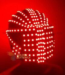 Casco RBG monocromático a todo color luminoso cascos de carreras 2017 punto fuente brillante LED casco fiesta DJ máscara de robot Accesorios
