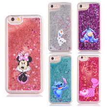 Cute cartoon glitter phone case for iphone 7 7plus 5 5s 6 6s plus 8 8plus X mickey Minnie Stitch Mermaid Liquid Quicksand Cover