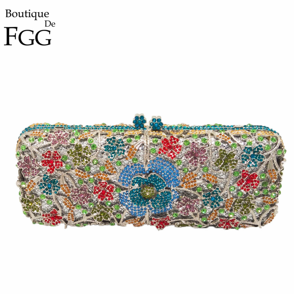 Women Hollow Out Multi Flower Crystal Evening Wedding Dinner Party Box Clutch Handbag Purse Silver Metal Hardware Clutches Bag gold plating floral flower hollow out dazzling crystal women bag luxury brand clutches diamonds wedding evening clutch purse