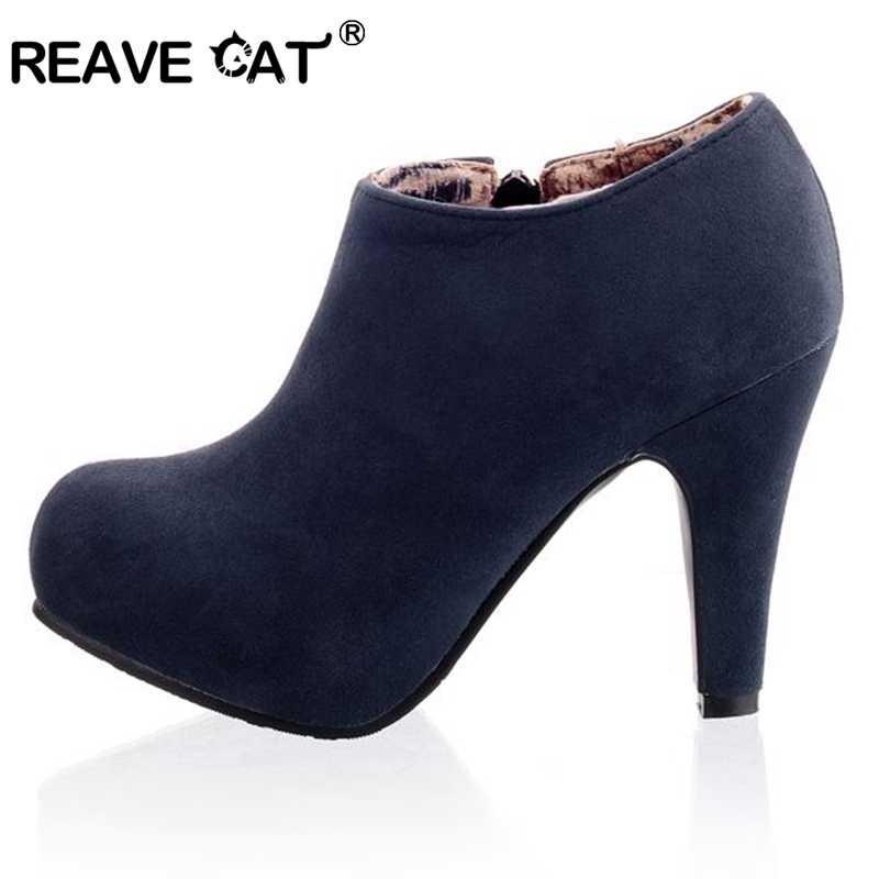 REAVE kedi büyük boy 32-45 Faux süet kadın yarım çizmeler sonbahar bahar ayakkabı 10cm topuk fermuar siyah kayısı mavi tasarımcı QL4259