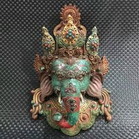 wedding decoration Antique Tibet bronze Turquoise Inlay statue Elephant god Geneisha Mask