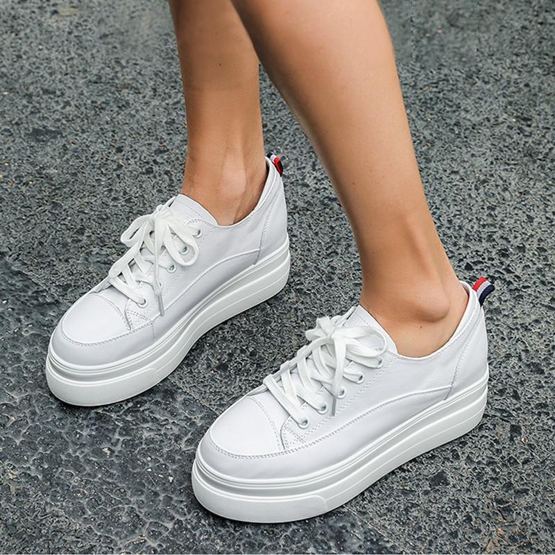 Yiluan cuir véritable femmes blanc chaussures plate-forme baskets 2019 printemps automne mode femmes noir augmenter chaussures femme décontractées - 5