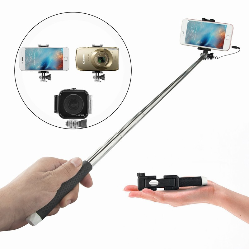 buy mini wired selfie holder stick with mirror for huawei p9 gopro iphone 6 6s. Black Bedroom Furniture Sets. Home Design Ideas